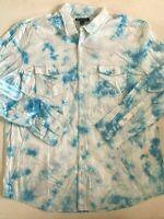 I.N.C International Concepts New Tie Dye Button Down Long Sleeve Shirt Men's 2XL