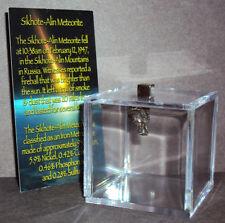 New listing Sikhote-Alin Meteorite with Display Cube! Genuine 1.3 gram Russian Meteorite!