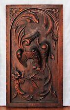 Antique German Art Deco Art Nouveau wooden carved panel