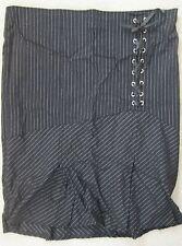 Lip Service Black Silver Pinstripe Skirt lace up 18 XL XXL long calf knee length