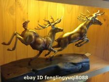 Western art deco pure Bronze Wood Two Deer reindeer elk wapiti Animal Sculpture