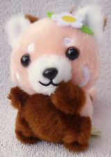 """Amuse Baby Red Lesser Panda Pink & White Flower Soft Plush Toy Japan Kawaii 4.5"""""""