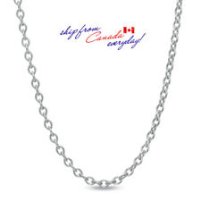 """S925 Sterling Silver Cable/Oval 0.8mm chain Necklace/15"""" + 2"""" long/18K GP"""