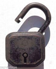 Antique Vintage German Burg Padlock Sicherheitsschloss No. 10 Skeleton Key Lock