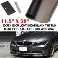 30*150cm Light Black Car Smoke Headlight Taillight Fog Light Tint Film Vinyl AU