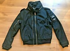 ADIDAS Originals Ladies Bomber Jacket Black Zip 08/09 Embroidered Logo M