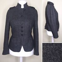 Zara XL Jacket UK 14 16 Grey Military WOOL BLEND Herringbone Peplum Steampunk