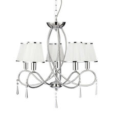 Searchlight Simplicity 5 Lights Chrome White Shades Ceiling Fitting Chandelier