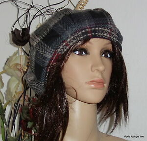 Ivko Hat Tartan Cap Schotten-Mütze Hat Braun Anthracite Teal 42627
