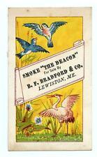 """LEWISTON MAINE*BRADFORD & CO*SMOKE """"THE DEACON""""*BIRDS*VICTORIAN TRADE CARD"""