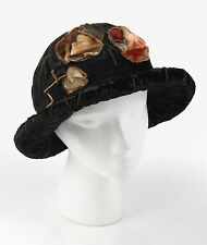 Vtg 1910 - 1920s HAUTE COUTURE Edwardian Silk Velvet Floral Flapper Cloche Hat