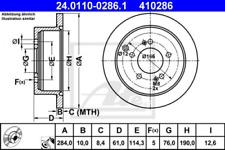 2x Bremsscheibe für Bremsanlage Hinterachse ATE 24.0110-0286.1