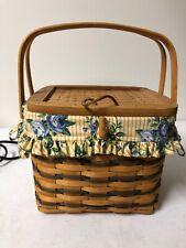 Longaberger 1996 Large Blue Remembrance Basket, Protector, and liner