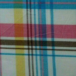 Blue Pink Yellow Plaid Cotton Pocket Square