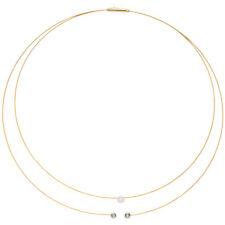 Collier Halskette 2-reihig 750 Gold bicolor 3 Diamanten Brillanten 42 cm Kette