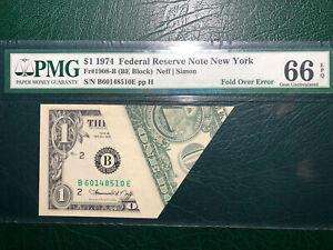 1974 $1 FRN *MAJOR FOLD OVER* PMG66Q