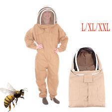 L/Xl/Xxl Cotton Full Body Beekeeping Bee Keeping Suit W/Veil Hood Safe Use