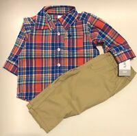 NWT Carter's 2-Piece Plaid Shirt and Khaki Pants Set Size 6 Months