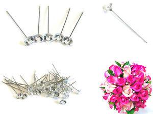 Wedding Bridal Pearl Flower Crystal Bridesmaid Berry Hijab Scarf Pins 55mm 30pcs