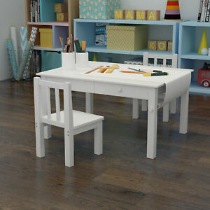 Kids Table and Chair Set Art Desk Study Drawing Activity Play Table w/Drawers