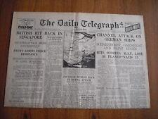 WW2 WARTIME NEWSPAPER - DAILY TELEGRAPH - FEBRUARY 13th 1942