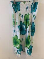 GREEN BLUE FLORAL DRESS 14 SUMMER ELASTICATED HOLIDAY  IBIZA MARBS MINI CUTE FIT