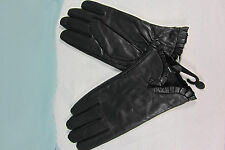 Leather Black L Gloves LG Black All Polyester Lining Ruffle Cuff  NWT