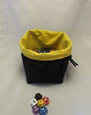 D&D Black Yellow Square Dice Bag - Reversible Drawstring Tile Pouch RPG Meeple