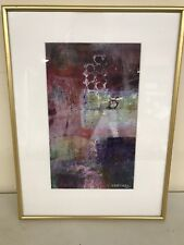 """Dorothy Martinez """"Geo III"""" Watercolor Painting Framed Signed 16"""" x 12"""" VT Artist"""