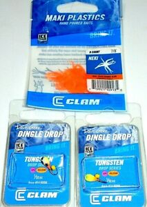 Clam Tungsten Dingle Drop Jigs & Ice Jig Trailer Package (Lot of 3-CP4)