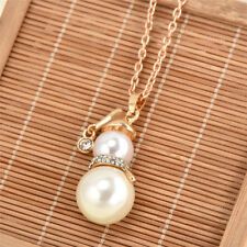 Fashionable Christmas Snowman Pearl Necklace Women's Long Sweater Chain Necklace