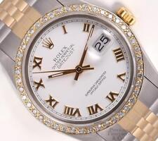 Rolex Datejust Two Tone Gold/SS 18k Diamond Bezel-White Roman Dial 36mm Watch