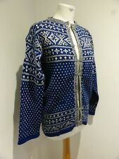Vintage Norwegian Nordic blue white fair isle knit cardigan jumper