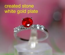 1ct 5mm round ruby  DIAM0NDS ring size P 8