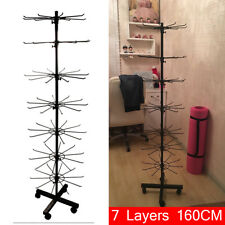 7 Seven Level Tier Tall Spinning Store Floor Display Rack Black with Wheels Wire