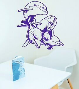 SWIMMING DOLPHINS Wall Art Stickers, Decals, 3 x great sizes available