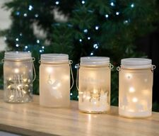 Frosted Glass Jar with LED Micro String Lights Christmas Theme Decoration 14cmh
