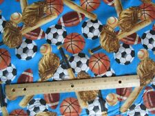 2 Yards Blue Sports Balls/Bats Flannel Fabric