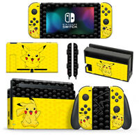 Pokemon Pikachu Skin Wrap cover for Nintendo Switch Console Dock & Joycons