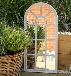 Rustic Look Window Style Arch Mirror Garden Home Wall Mounted Vintage 69x35cm