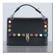 FENDI 2890$ Authentic New Medium Black Leather KAN I Bag With Multi Colour Studs