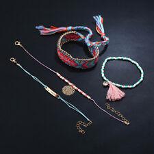 4Pcs Set Women Ethnic Boho Multilayer Beads Pink Tassel Bracelet Bangle Jewelry