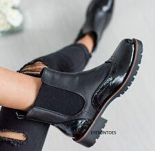 LADIES ANKLE FLAT COMBAT MILITARY BIKER BUCKLE BLACK ZIP WOMENS LACE UP BOOTS SZ