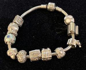 PANDORA Loaded Sterling Silver Charm Bracelet & 12 ALE-925 Charms  55gms