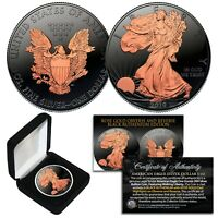 2019 BLACK RUTHENIUM 1oz .999 Fine Silver American Eagle Coin - 24K ROSE GOLD