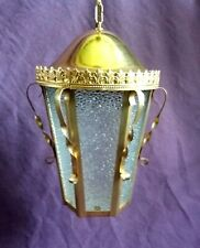 Vintage Ornate French Lanter Gold  Mid Century Hanging Light Brass Entryway