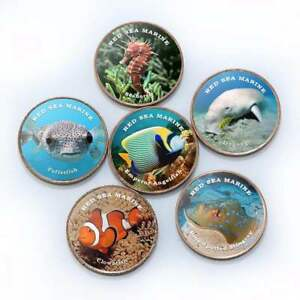 SOMALILAND SET OF 6 DIFFERENT 1 SHILLING 2018 COINS - SEA ANIMALS FISH 26mm UNC