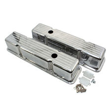 1958-86 SBC Chevy 350 Tall Polished Aluminum Ball Mill Valve Covers 283 327 400