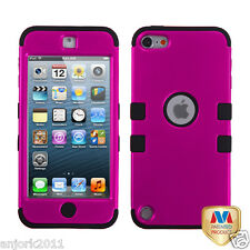 Apple iPod Touch 5 T Armor Hybrid Case Skin Cover Accessory Hot Pink Black