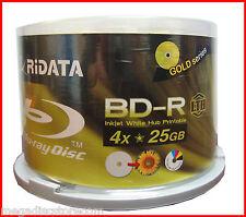 50 Pieces RiData LTH White Inkjet Hub Printable 4X 25GB Blu-Ray BD-R Blank Disc